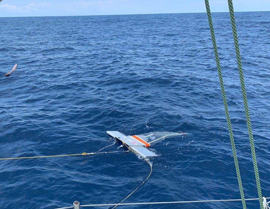 Colador sacando muestras del oceano